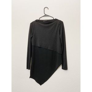 Zara Black Boat Neck Asymmetrical Full Sleeve Top